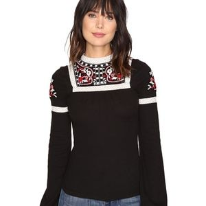 Free People Black Cozy On Up Embroidered Top